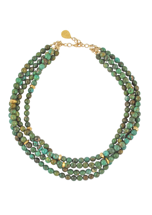 Green Turquoise Multi Strand Necklace