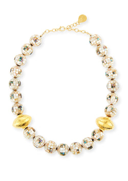 Abalone and Pearl Shell Mosaic Gold Accent Necklace