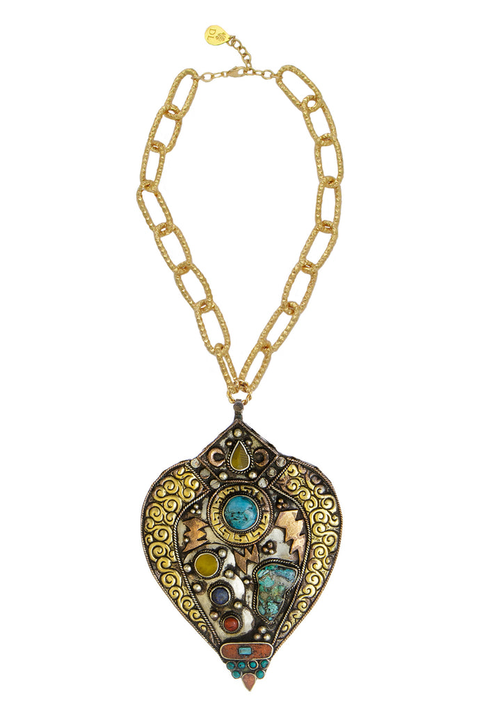 Limited edition large antiqued turquoise coral brass pendant limited edition large antiqued turquoise coral brass pendant necklace aloadofball Images