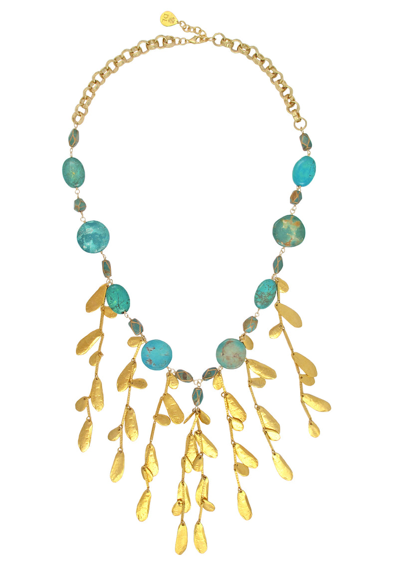 Turquoise Gold Leaf Fringe Necklace