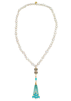 Copper Infused Pearl Ethnic Accent Turquoise Tassel Necklace