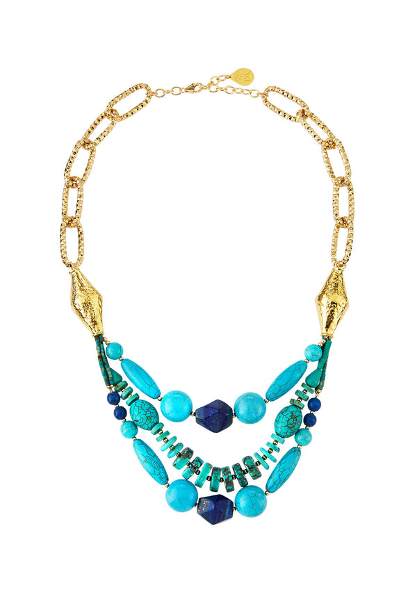 Turquoise Lapis Multi Strand Necklace