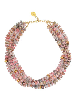 Rhodonite Gold Accent Multi-Strand Necklace