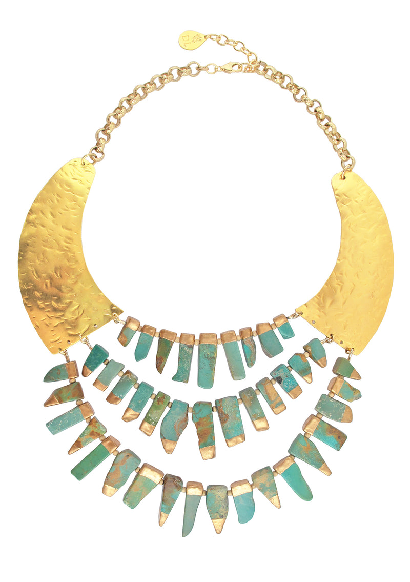 Copper Infused Turquoise Gold Bib Necklace
