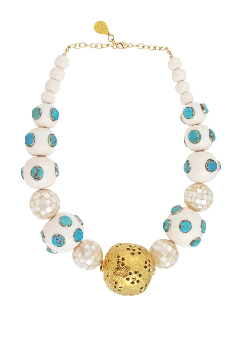 Turquoise Pearl Gold Accent Necklace