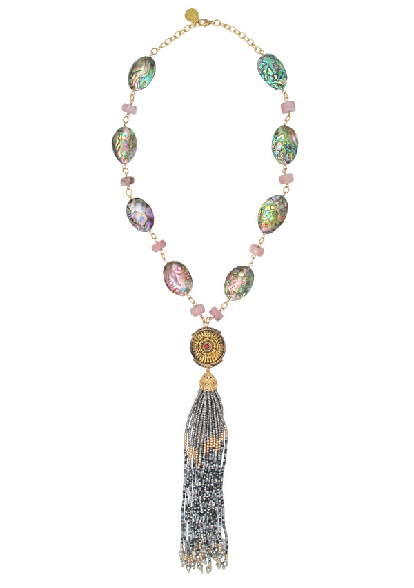 Abalone Pink Opal Ethnic Accent Gray Tassel Necklace