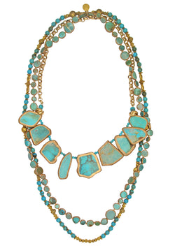 Multi Strand Copper Infused Turquoise Necklace