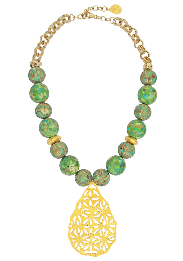Green Turquoise Gold Pendant Necklace