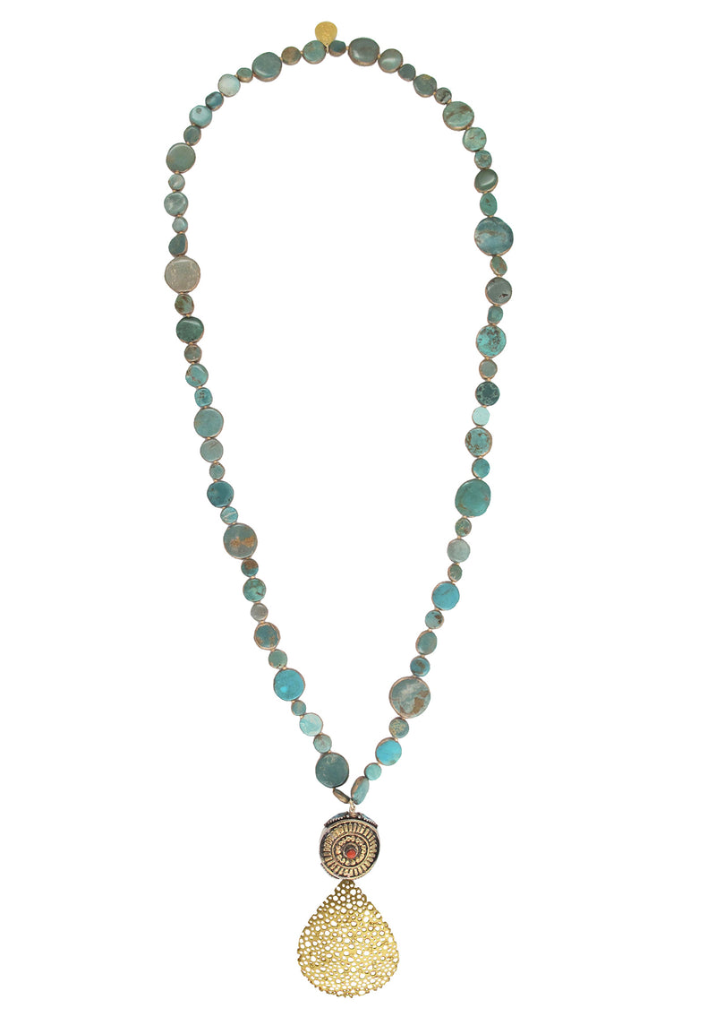 Ethnic Turquoise Gold Pendant Necklace