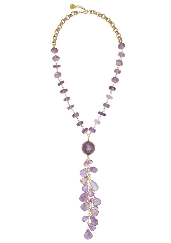 One of a kind long amethyst cluster necklace made in the USA