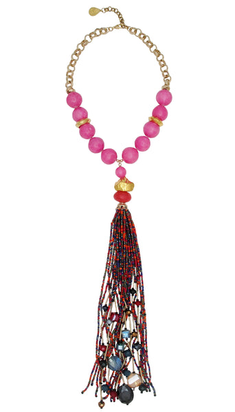 Pink Chalcedony Gold Accent Multicolor Tassel Necklace