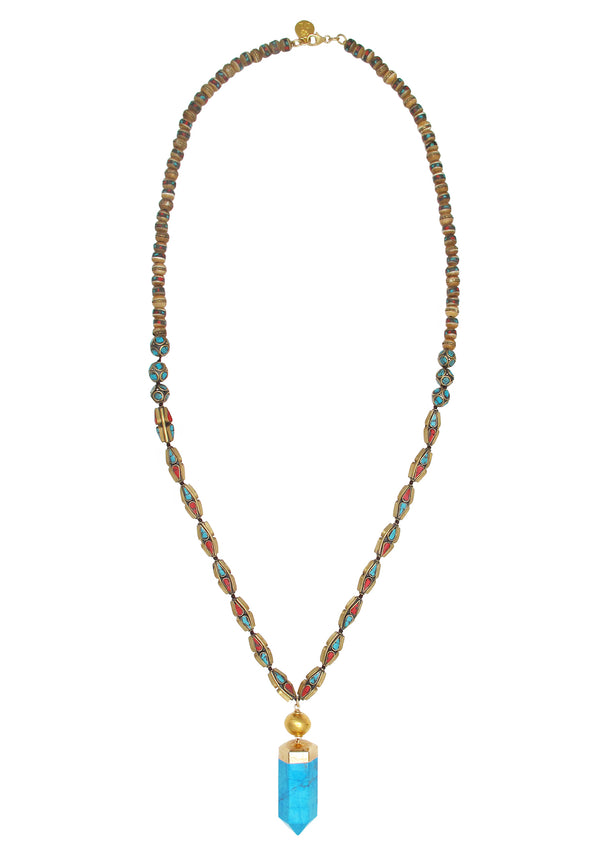 Long Ethnic Bead Turquoise Spike in Gold Necklace