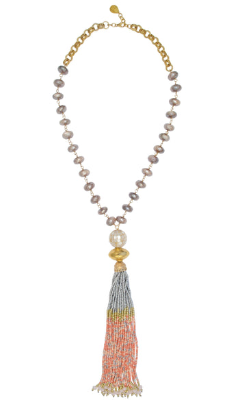 Moonstone Gold Accent Pink Tassel Necklace