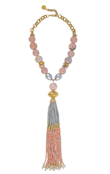 Pink Multi-Stone Gold Accent Tassel Necklace