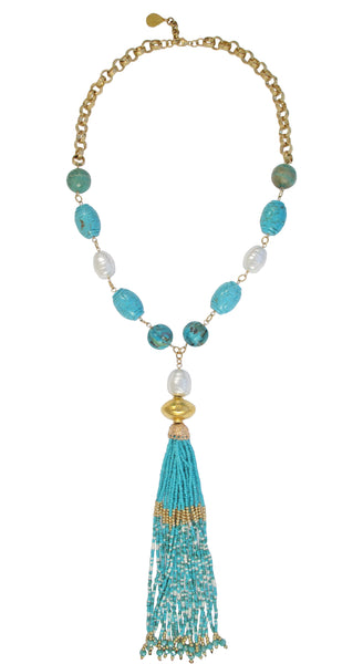 Turquoise White Pearl Tassel Necklace