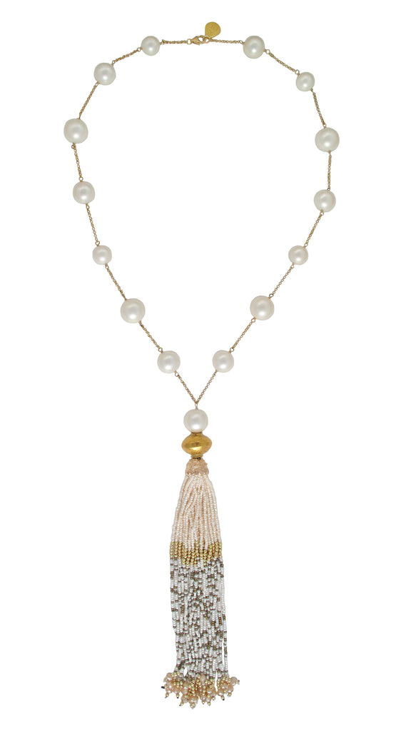 Popular Long Pearl Shell Gold Accent Tassel Necklace – Devon Leigh JQ54