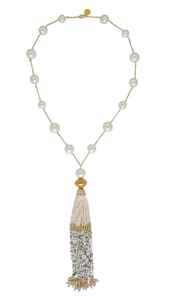 Long Pearl Shell Gold Accent Tassel Necklace