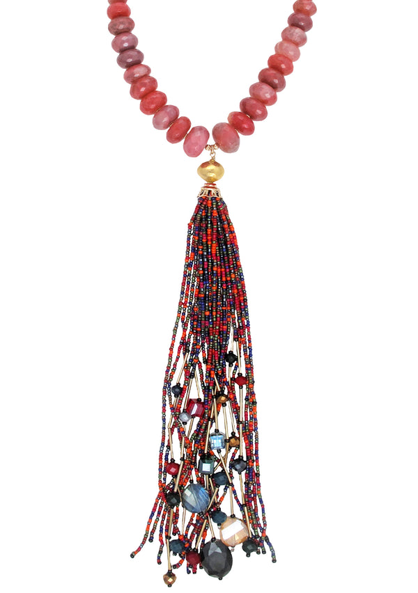 Ruby Quartz Gold Accent Multicolor Tassel Necklace