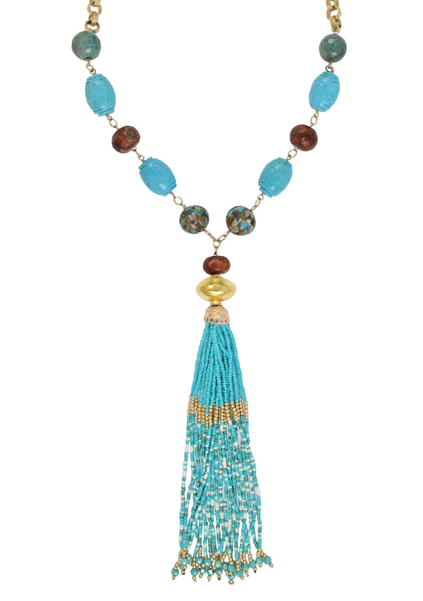 Carved Turquoise Gold Accent Tassel Necklace