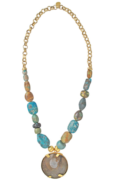 One of a Kind Turquoise Fossilized Shell Pendant Necklace