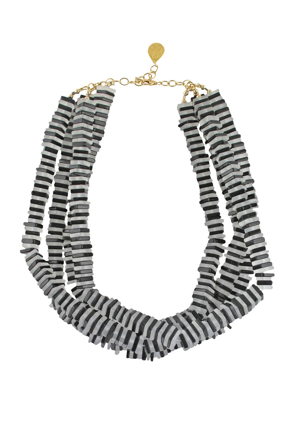 Black and White Stripes Necklace
