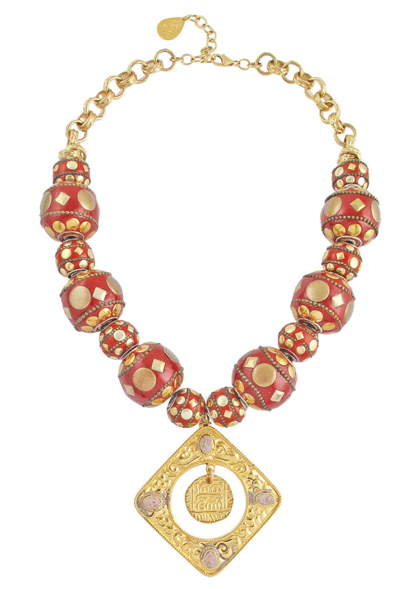 Red Ethnic Gold Pendant Necklace