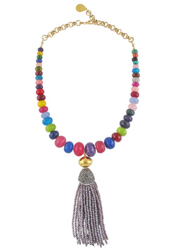 Multicolor Purple Tassel Necklace