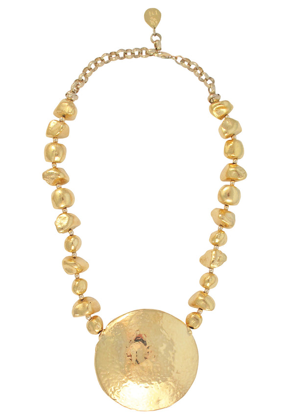 Hammered Gold Medallion Necklace