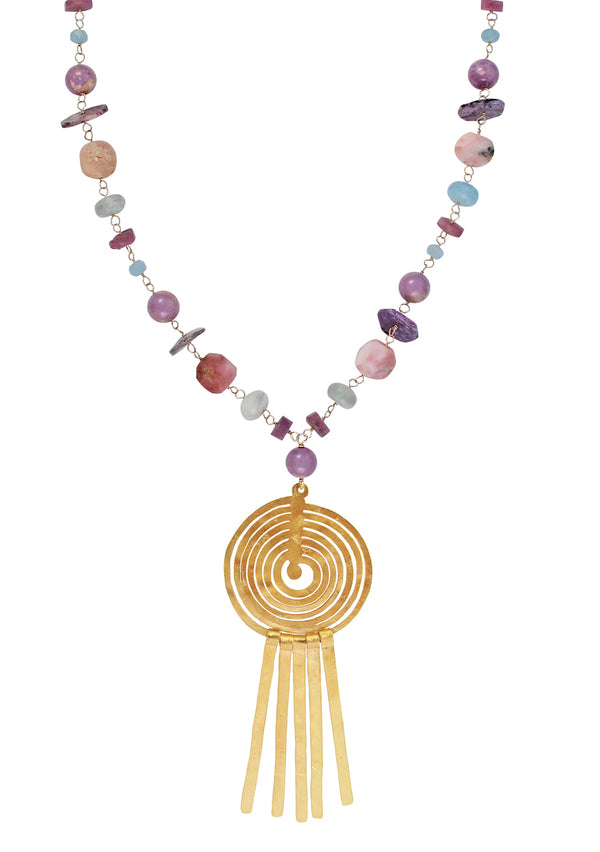 Multi-Stone Pastel Gold Fringe Pendant Necklace