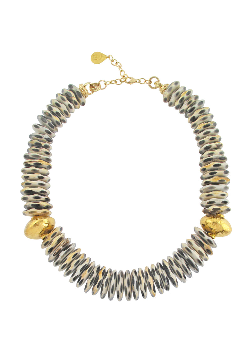 Animal Print Gold Accent Necklace