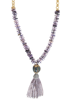 Purple Charoite Ethnic Accent Crystal Tassel Necklace