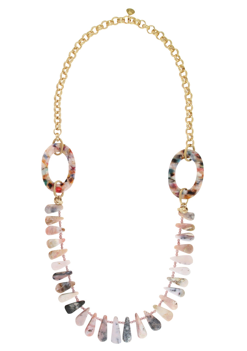 Pink Opal Multicolor Accent Necklace