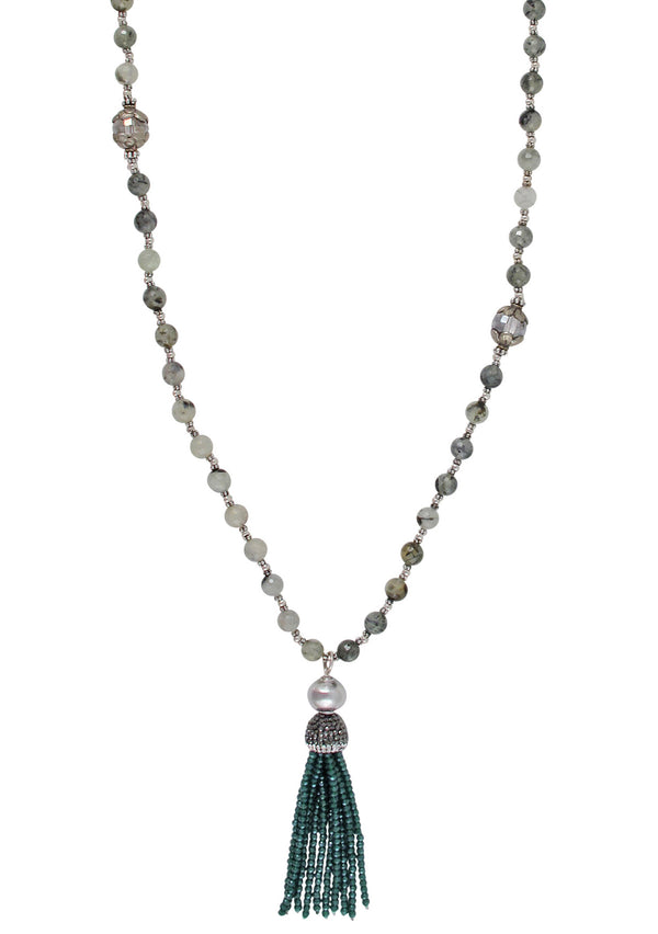 Peridot Quartz Teal Tassel Necklace