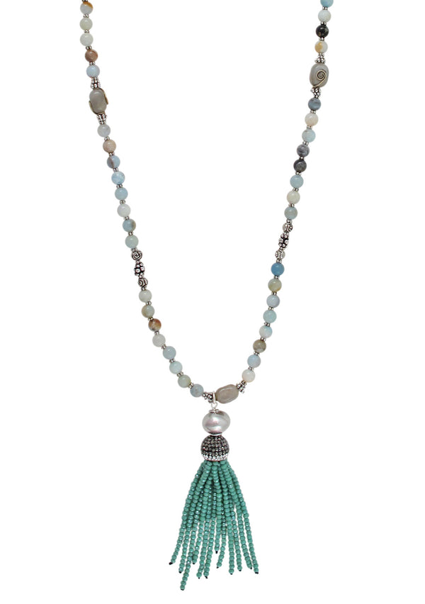 Amazonite Rhodium Accent Aqua Tassel Necklace