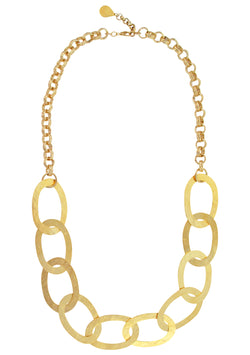 Gold Hammered Link Chain Necklace