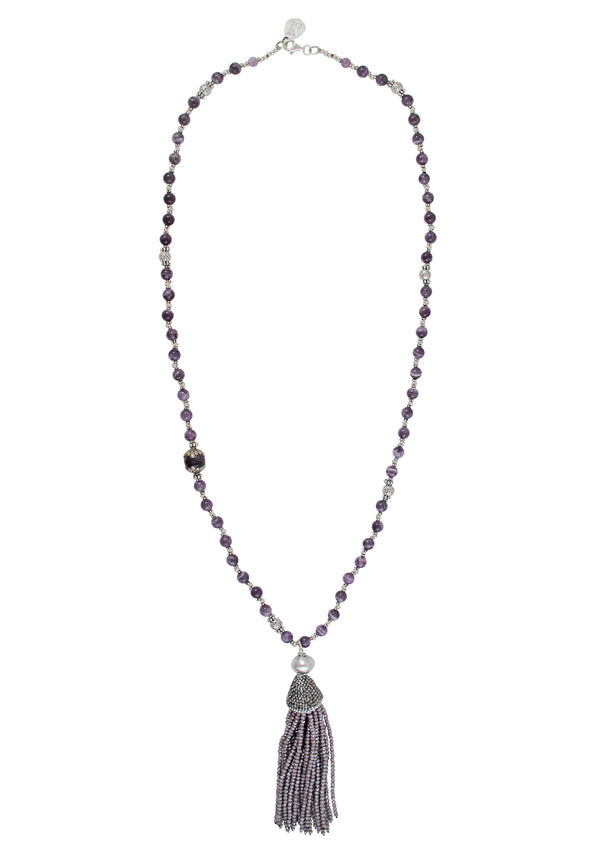 Amethyst White Brass Purple Tassel Necklace