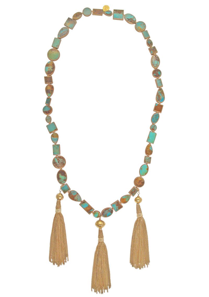 Cooper Infused Turquoise Gold Tassel Necklace