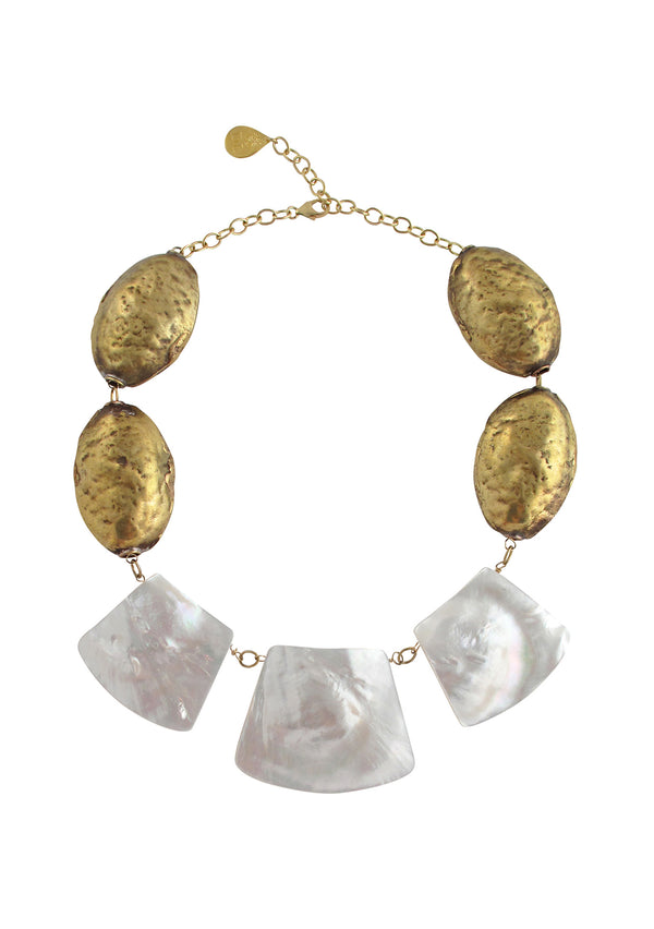 Brass White Shell Necklace