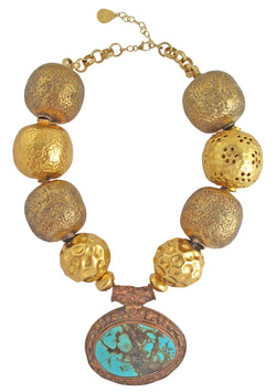 Brass and Gold Turquoise Necklace