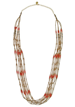 Multi-Strand Coral Brass Necklace