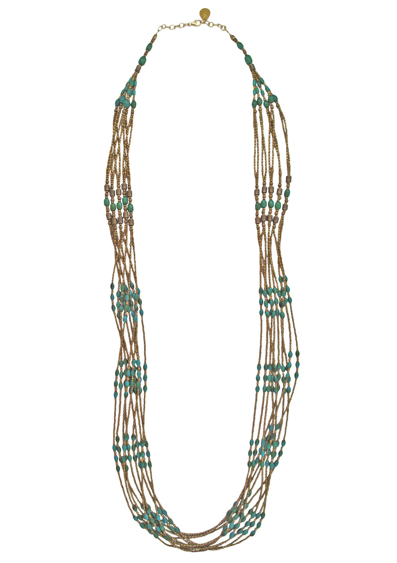 Turquoise Brass Multi-Strand Necklace