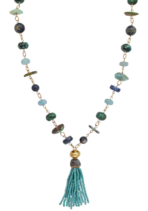 Green and Blue Station Tassel Necklace