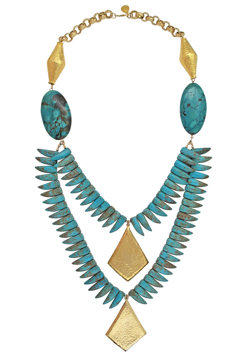 Turquoise Spike Gold Pendant Necklace