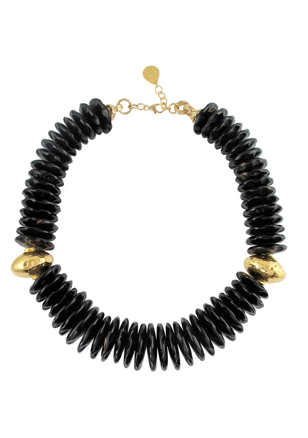 Black Horn Gold Accent Necklace