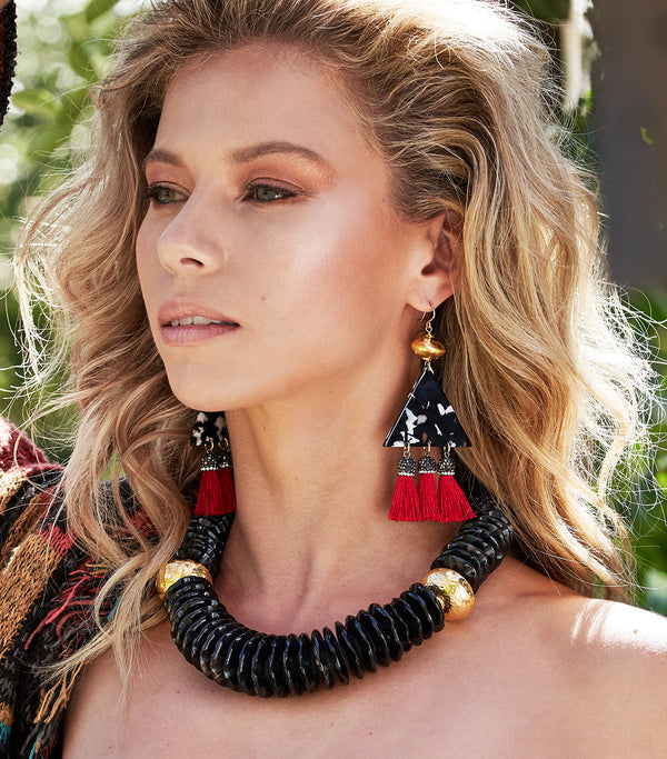 Animal Print Red Tassel Earrings