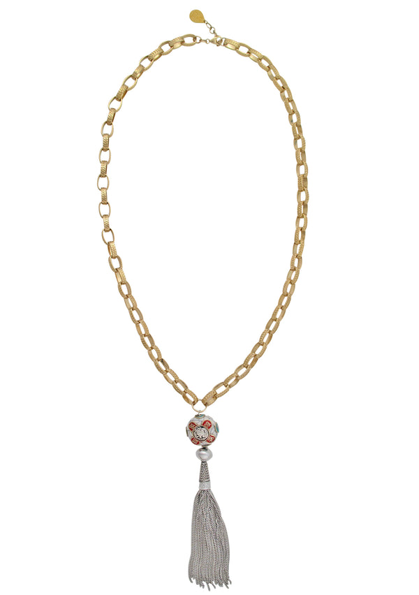 Ethnic Silver Tassel Gold Necklace