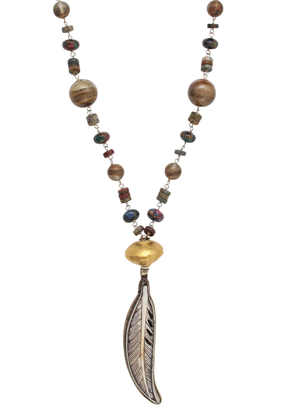 Earth Tone Feather Pendant Necklace