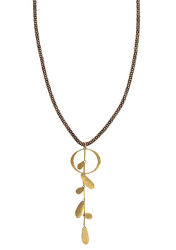 Brass Mesh Gold Leaf Pendant Necklace