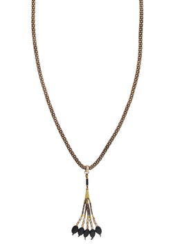 Brass Mesh Animal Print Tassel Necklace