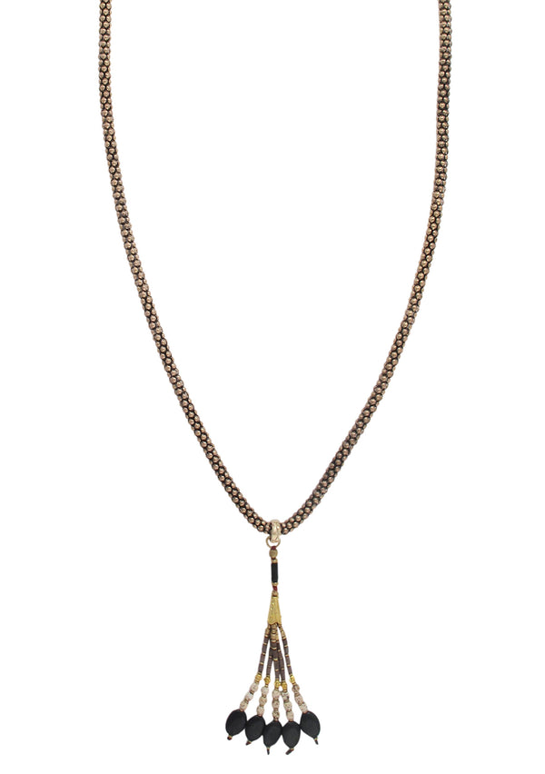 DEVON LEIGH Black Onyx and Jasper Nepalese Layering Tassel Necklace